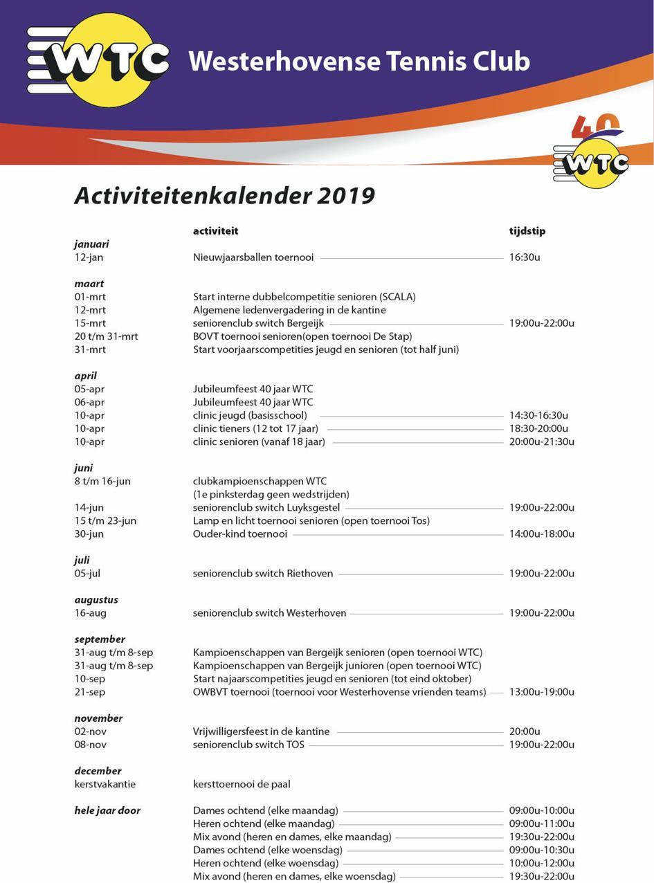Activiteitenkalender 2019